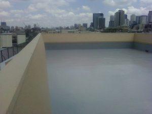 屋上床、密着ウレタン防水(3層)工事